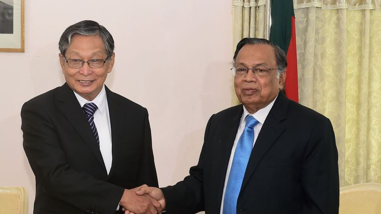 Myanmar official Kyaw Tint Swe (L) meets Bangladesh's foreign minister A H Mahmood Ali