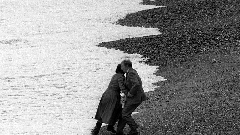 Neil Kinnock on Brighton beach in 1983