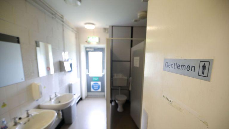 The men's toilets at Netheravon Airfield, Wiltshire