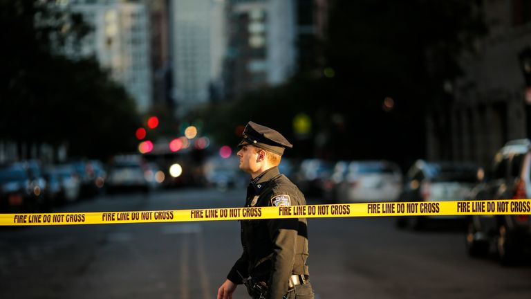 The attacker was confronted by uniformed officers stationed close to the scene