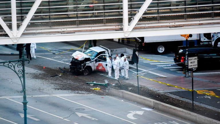 Image of smashed truck after incident which left six people dead and several injured.