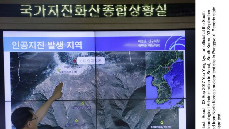 The location of an artificial earthquake detected from North Korea's nuclear test site in Punggye-ri