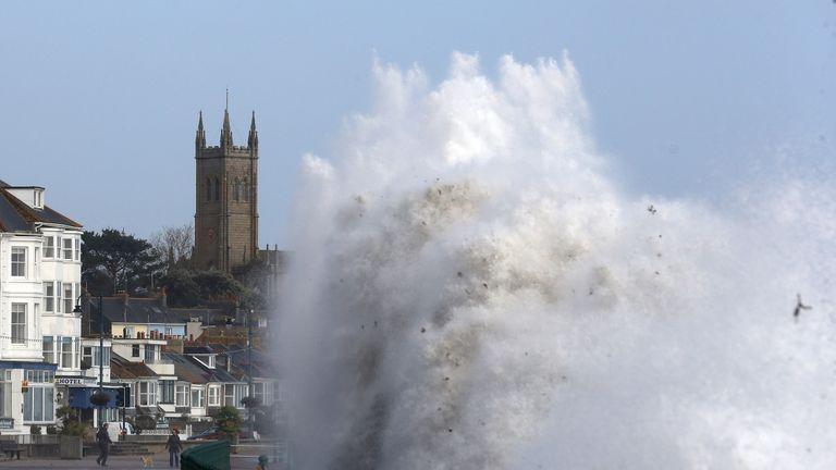 Storm Ophelia sends waves crashing up onto Penzance seafront