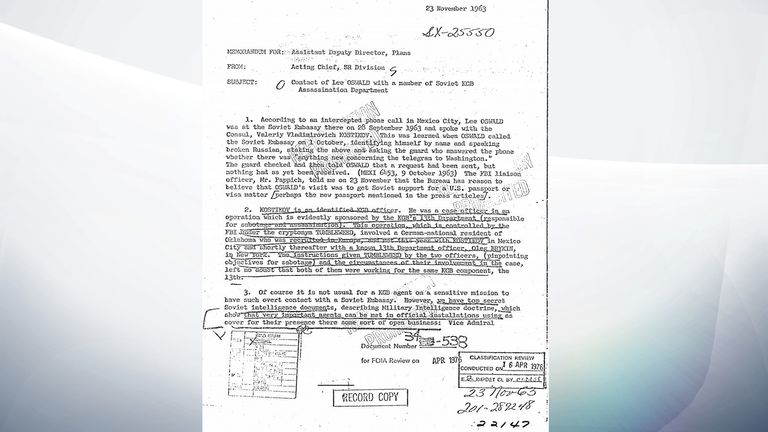 One of the documents - this one is about Lee Harvey Oswald's visit to the Russian Embassy in Mexico City