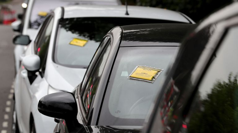 File photo dated 19/07/17 of penalty charge notices affixed to several cars, as up to 17% of parking spaces on UK streets could be freed up if drivers stopped parking badly, it has been estimated
