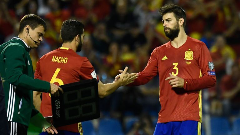 Barcelona's Gerard Pique was booed by Spanish fans before being substituted