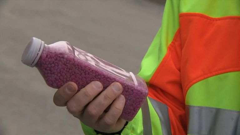 The pellets are made from landfill plastic and then go into an asphalt mix