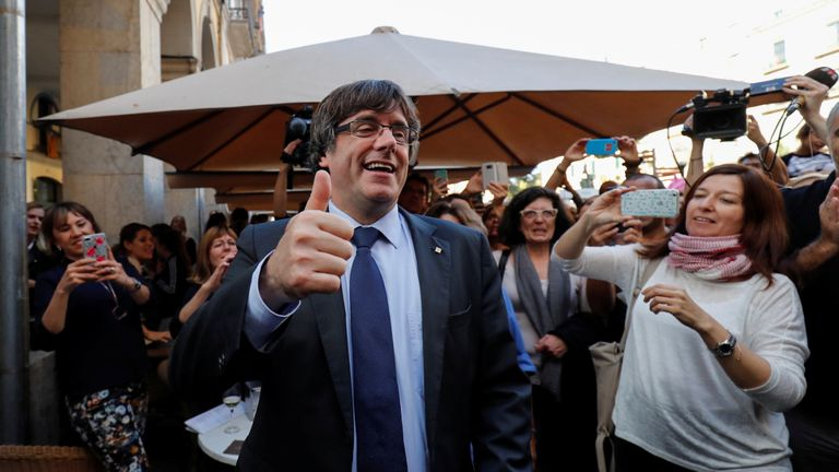 Carles Puigdemont, pictured in Girona, is facing charges including rebellion