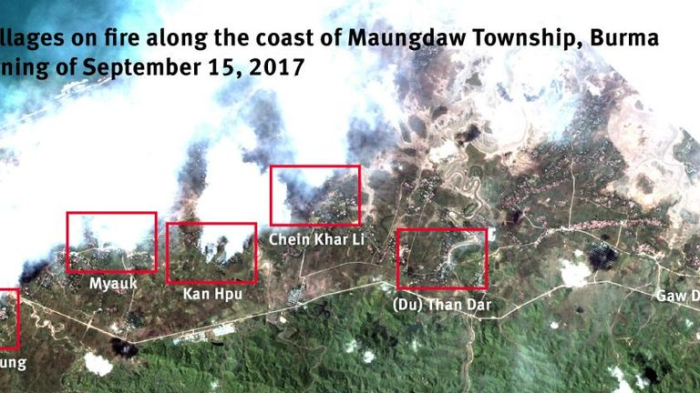 Multiple villages in Maungdaw Township on fire on the morning of 15 September, 2017, according to HRW