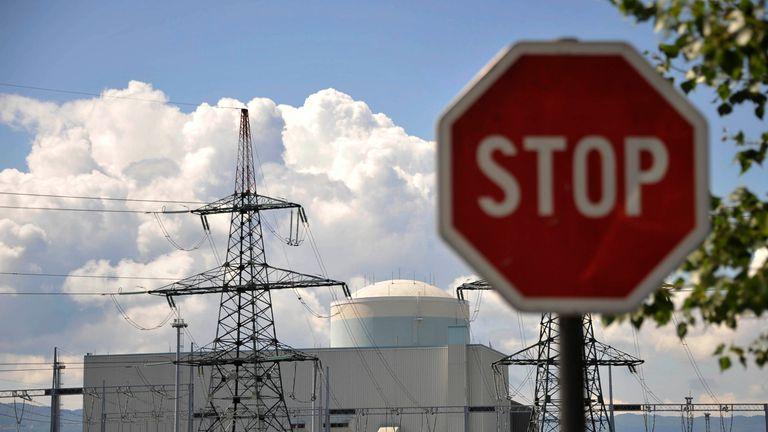 RTR2NQJV16 Jun. 2011KRSKO, SloveniaA stop sign is seen near a nuclear power plant in Krsko about 70 km east of capital Ljubljana June 16, 2011. REUTERS/Srdjan Zivulovic (SLOVENIA - Tags: ENERGY BUSINESS)