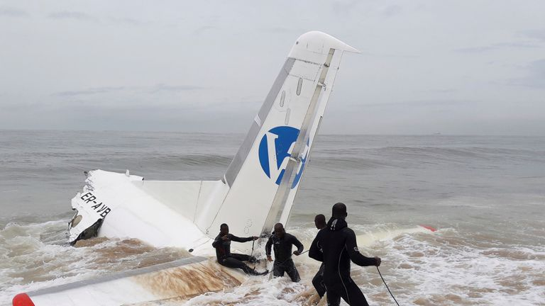 What is left of the tail section of the Antonov chartered plane