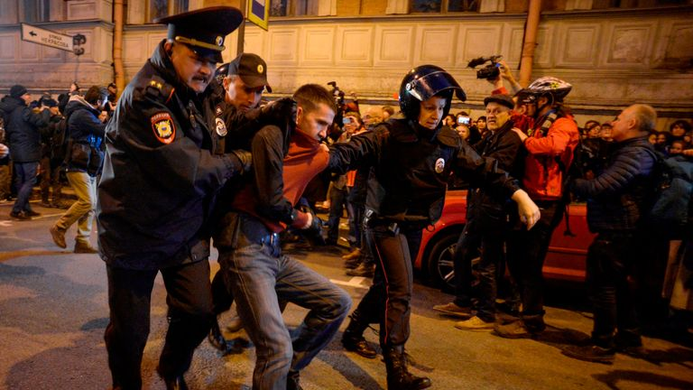 More than 200 protesters were thought to have been detained in the demonstrations