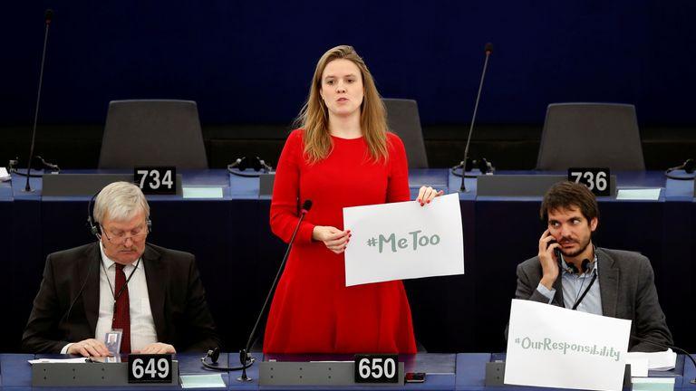 German Green MEP Terry Reintke (C) was among those taking part in the debate