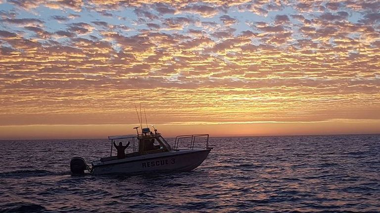 Rescue workers returned the diver to his boat. Pic: Volunteer Marine Rescue Shark Bay
