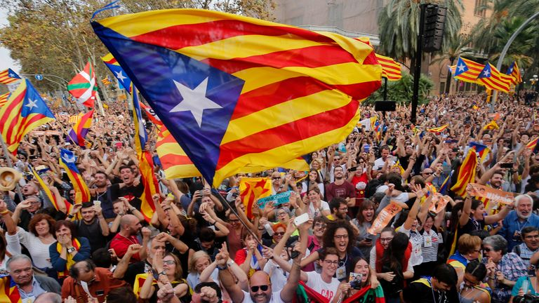 Celebrations in Barcelona after Catalonia's parliament voted to declare independence from Spain