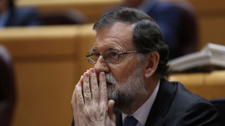 Spain's Prime Minister Mariano Rajoy reacts during a debate at the upper house Senate in Madrid, Spain, October 27, 2017. REUTERS/Susana Vera