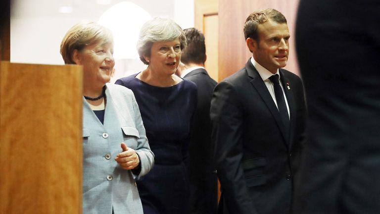(L-R) German Chancellor Angela Merkel, Prime Minister Theresa May and French President Emmanuel Macron