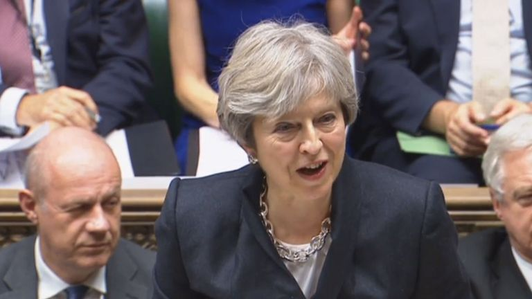 Theresa May addresses the Common