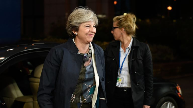 Britain's Prime minister Theresa May arrives on the second day of a summit of European Union (EU) leaders in Brussel on October 20, 2017. British Prime Minister Theresa May is pressing EU leaders for a Brexit deal she can 'defend' at home as her counterparts said at a summit in Brussels that there were encouraging signs of progress in the talks. / AFP PHOTO / JOHN THYS (Photo credit should read JOHN THYS/AFP/Getty Images)