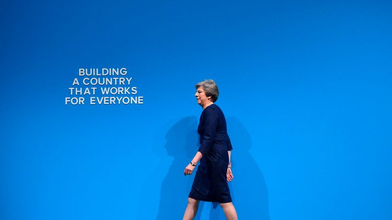Theresa May takes to the stage to deliver her speech