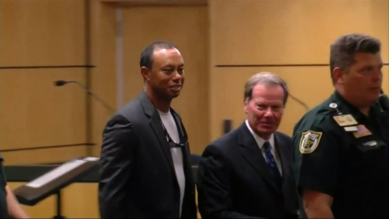 Woods in the court room following the ruling
