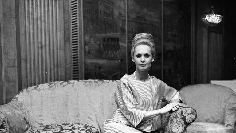 American actress Tippi Hedren, star of Charlie Chaplin's comedy 'A Countess from Hong Kong' attends a press conference at the Dorchester Hotel in London in 1966