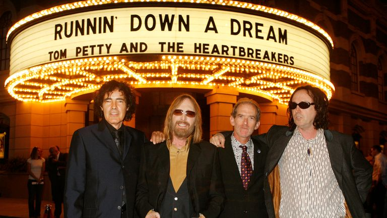 Members of the group Tom Petty and the Heartbreakers (L-R) Ron Blair, Tom Petty, Benmont Tench and Mike Campbell pose at the premiere of the documentary film from director Peter Bogdanovich