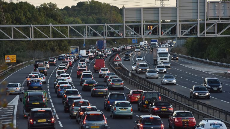 Bedford, UK - October 2nd 2016:Busy traffic on the M1 motorway freeway in England near Toddington Services The M1 is UK's main roadway from north to south