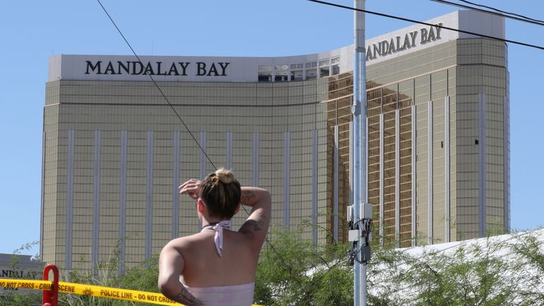 Broken windows can be seen on the hotel's 32nd floor, where Paddock carried out his attack