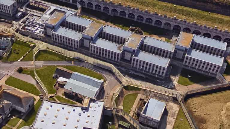 Aerial shot of The Verne immigration removal centre in Dorset, which is due to close in December 2017 and be turned into a prison