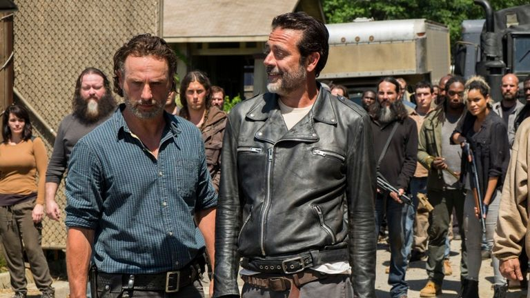 Andrew Lincoln as Rick Grimes, Jeffrey Dean Morgan as Negan..- The Walking Dead _ Season 7, Episode 4 - Photo Credit: Gene Page/AMC