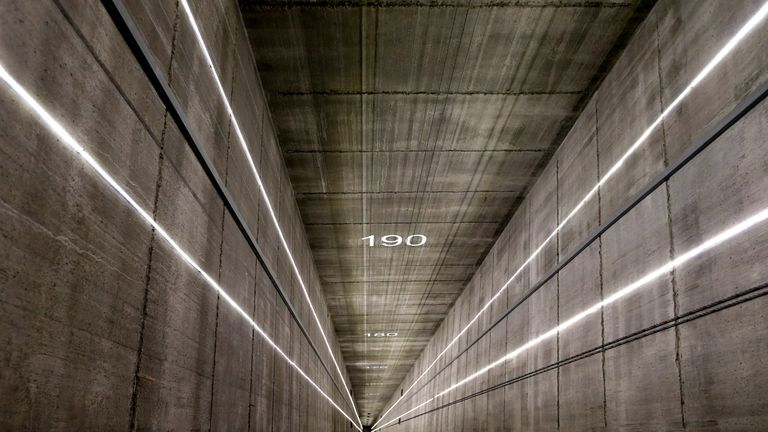 An elevator shaft inside Thyssenkrupp's elevator test tower in Rottweil, Germany. The 246 metre construction will test innovative elevator technology