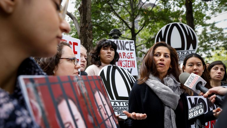 Protesters call upon Manhattan District Attorney Cyrus Vance Jr to reopen a criminal investigation against Harvey Weinstein