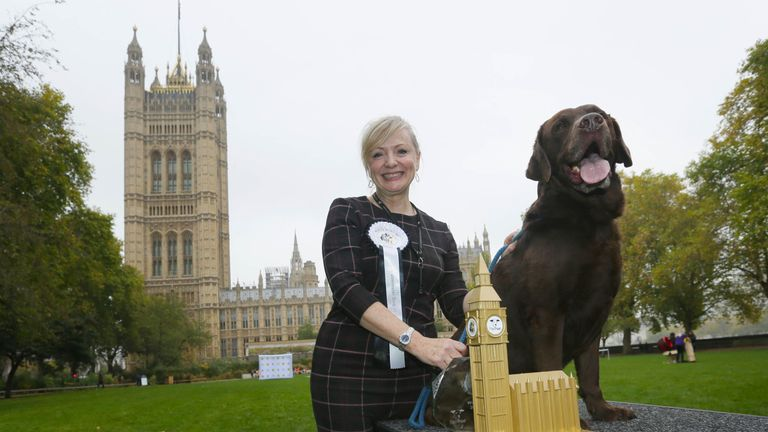 racy Brabin, MP for Batley and Spen with Labrador Rocky is announced as winner of the 25th Westminster Dog of the Year competition organised jointly by Dogs Trust and The Kennel Club, London.