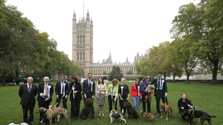 MPs with their dogs during the 25th Westminster Dog of the Year competition organised jointly by Dogs Trust and The Kennel Club, London. PRESS ASSOCIATION.