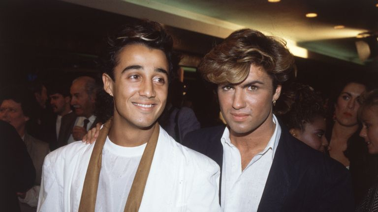 Andrew Ridgeley (L) and George Michael of Wham in their 80s heyday