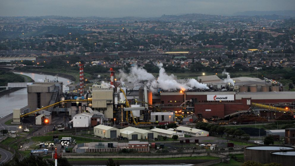 Smokes billow from Mondi Paper Mills factory just outside Durban City on November 29, 2011