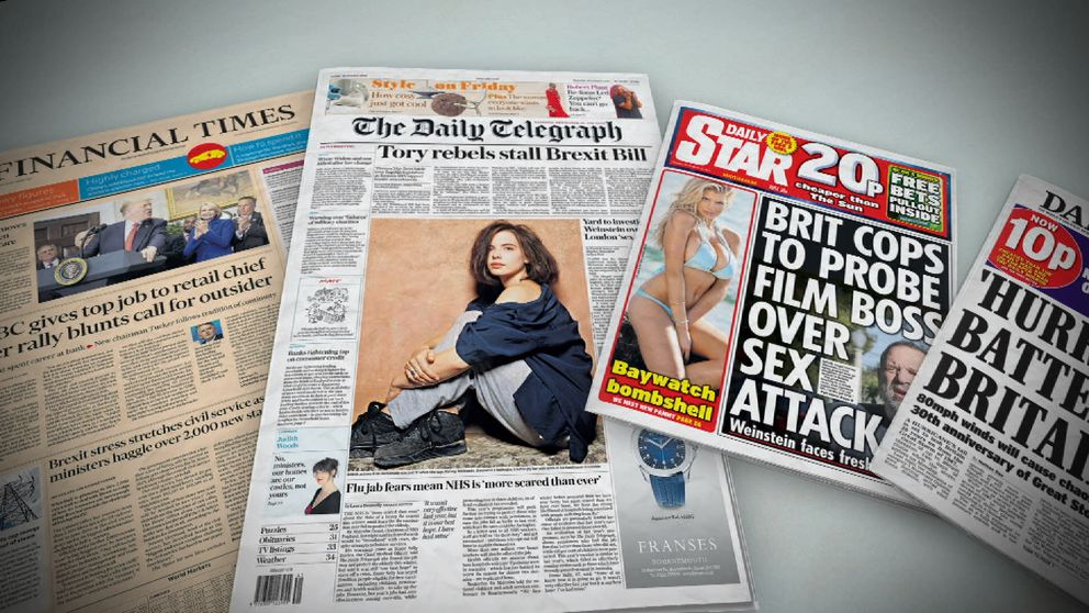 Newspaper front pages on 13 October 2017