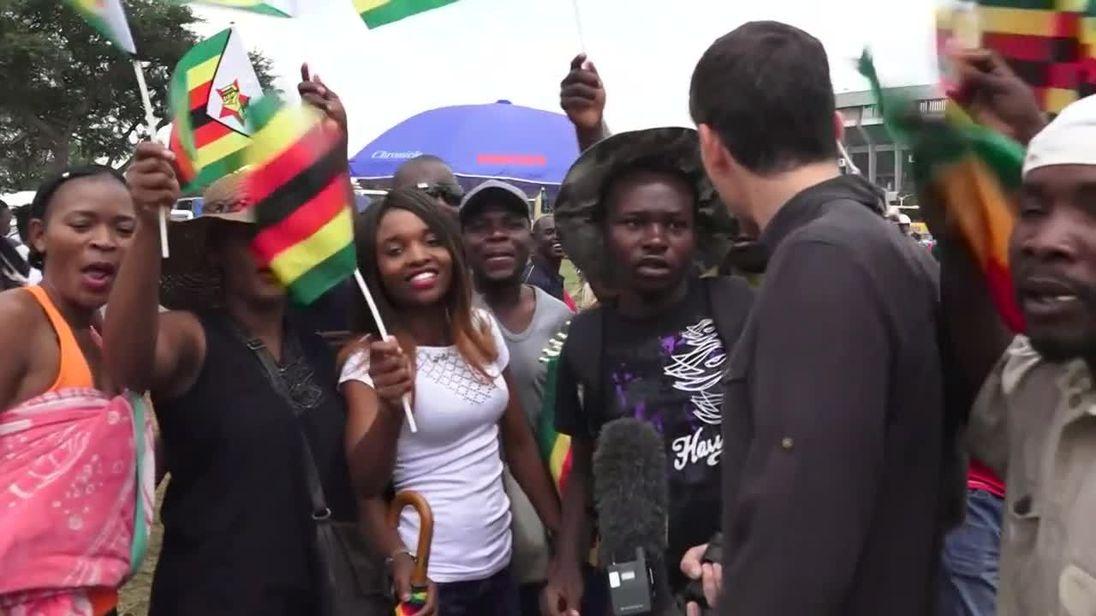 Video        Sky reporter witnesses excitement in Zimbabwe