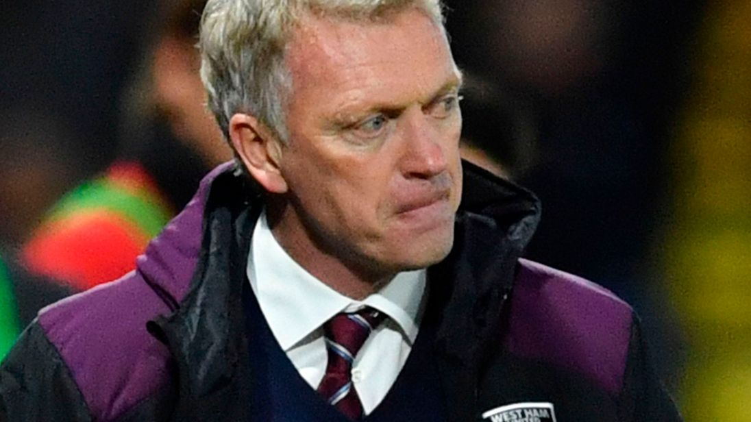 West Ham United's manager David Moyes watches the action from the touchline during the Premier League football match against Watford in November 2017