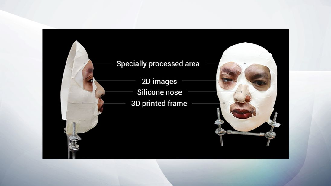 Hackers fooled Face ID with a rudimentary mask. Pic: Bkav
