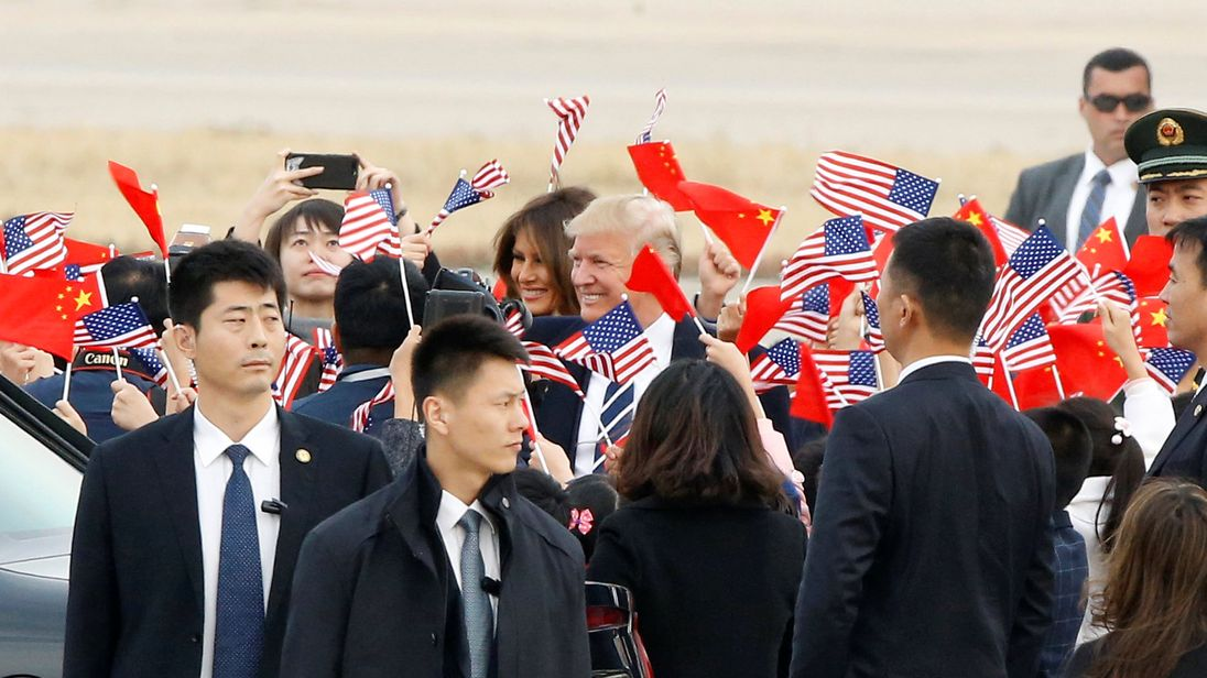 U.S. President Donald Trump and first lady Melania arrive on Air Force One at Beijing, China