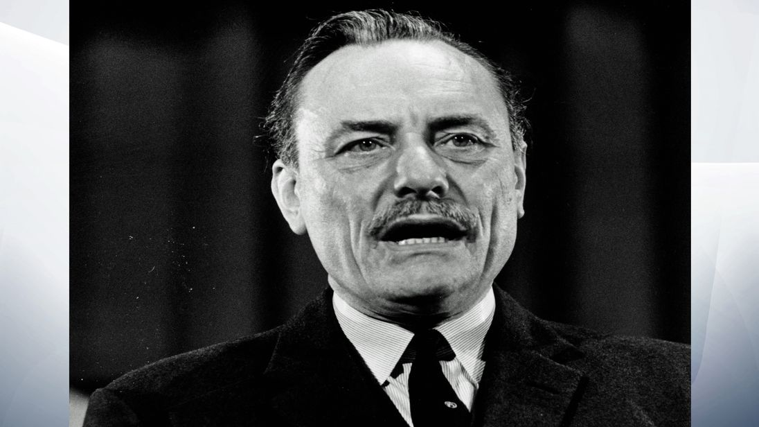 Enoch Powell pictured in 1969, the year after his famous 'rivers of blood' speech