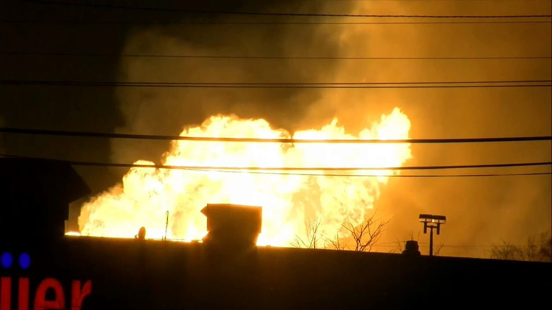 People have been evacuated from the area near the fire, around 30 miles from Detroit. Pic: WXYZ
