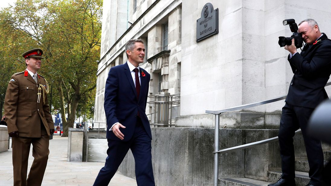Gavin Williamson arriving at the Ministry of Defence moments after his appointment