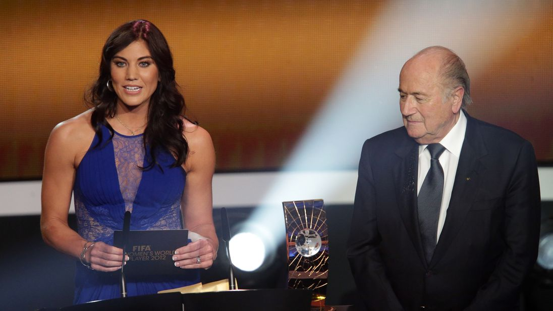 Hope Solo and Sepp Blatter during the FIFA Ballon d'Or Gala in 2013
