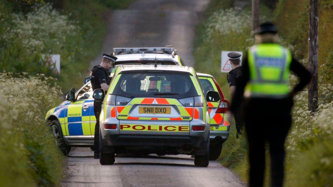 Police at the scene near Coldstream