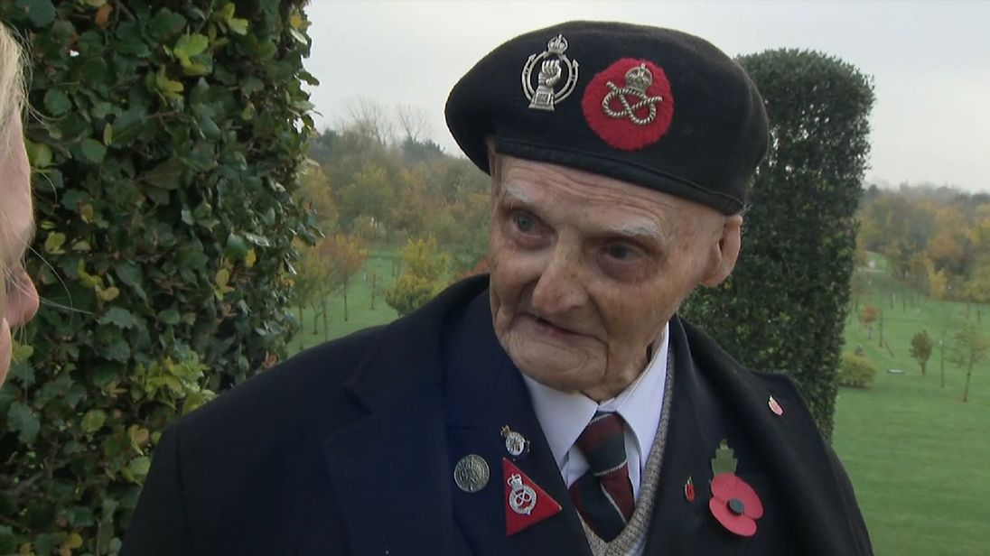 Second World War veteran Les Cherrington  was badly injured in Tunisia