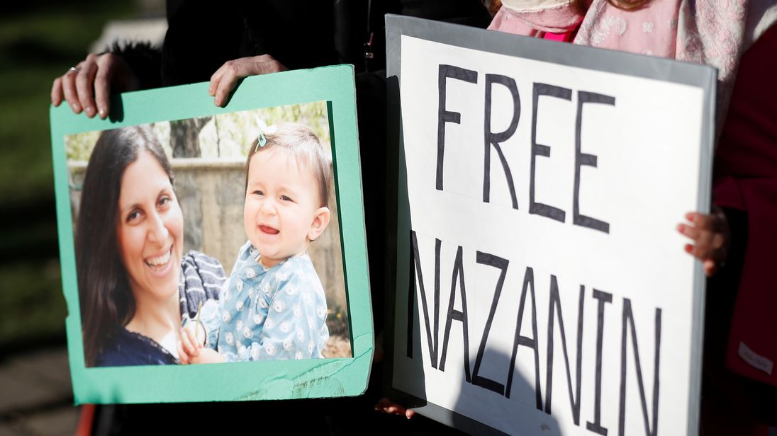 Nazanin Zaghari-Ratcliffe speaks to supporters at London rally by phone