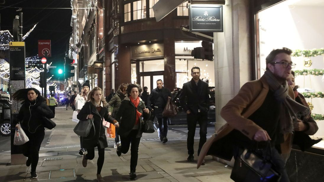 London police urge people on Oxford Street to go inside buildings